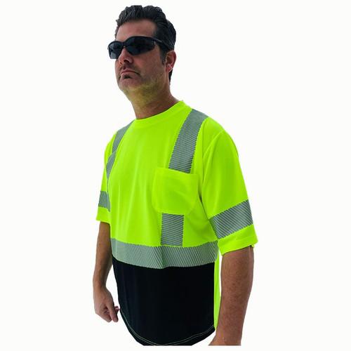 Forester Hi-Vis Black Bottom Class 3 Reflective Safety T-Shirt - Safety Green