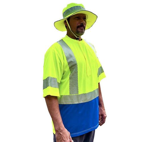 Forester Hi-Vis Blue Bottom Class 3 Reflective Safety T-Shirt - Safety Green
