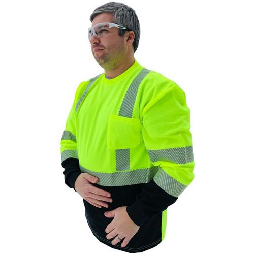 Forester Hi-Vis Black Bottom Class 3 Reflective Safety Long Sleeve Shirt - Safety Green
