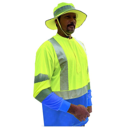 Forester Hi-Vis Blue Bottom Class 3 Reflective Safety Long Sleeve Shirt - Safety Green