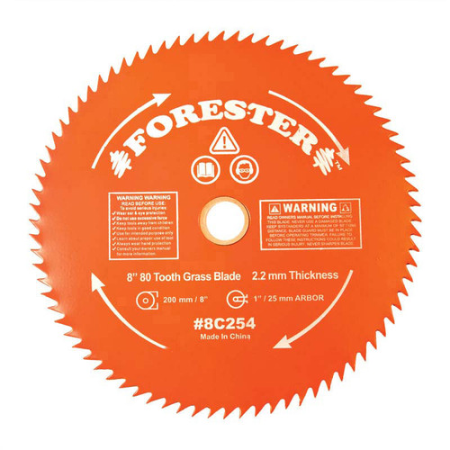 """Forester 80 Tooth Brush Cutter Blade - 8"""" Diameter x 1"""" or 20mm Arbor"""