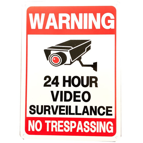 "Forester 7"" x 10"" Reflective Aluminum Sign - 24 Hour Video Surveillance"