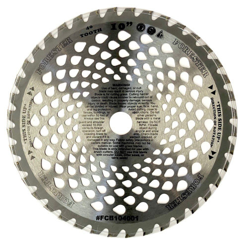 """Forester 40 Tooth Vented Carbide Tip Brush Cutter Blade - 10"""" x 1"""" / 20mm Arbor"""