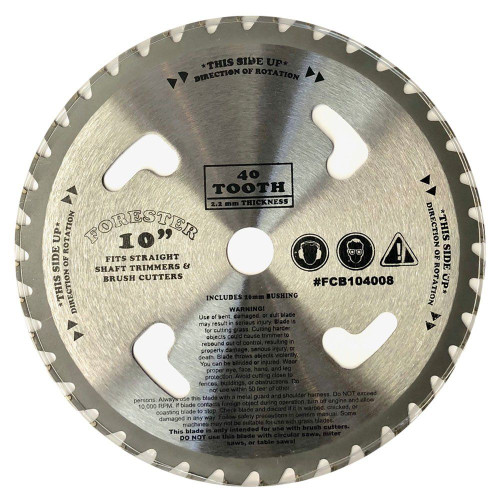"""Forester 40 Tooth Carbide Tip Brush Cutter Blade w/ Venting - 10"""" x 1"""" / 20mm Arbor"""