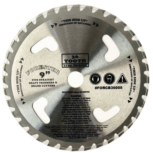 """Forester 36 Tooth Carbide Tip Brush Cutter Blade w/ Venting - 9"""" x 1"""" / 20mm Arbor"""