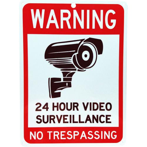 "Forester 7"" x 10"" Reflective Aluminum Sign - 24 Hr Video Surveillance"