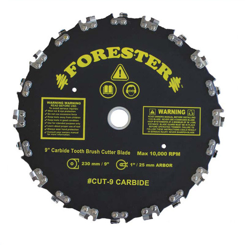 """Forester Carbide Tipped Chainsaw Tooth Brush Cutter Blade - 9"""" Diameter"""