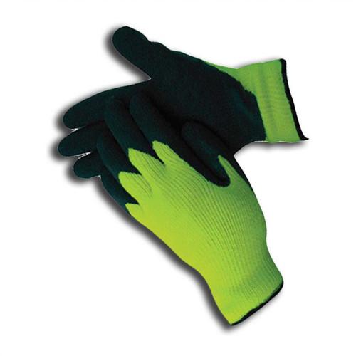 Hi-Vis Green Insulated Rubber Palm Winter Work Gloves