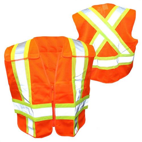 Forester Hi-Vis Orange Cross Back Safety Vest