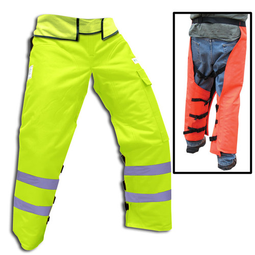 """Forester Adjustable Length 35""""-42"""" Wrap Around Chainsaw Chaps - Safety Green"""