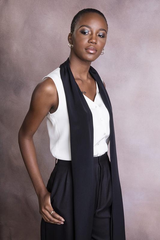 The Lauren Blouse Ivory/Black