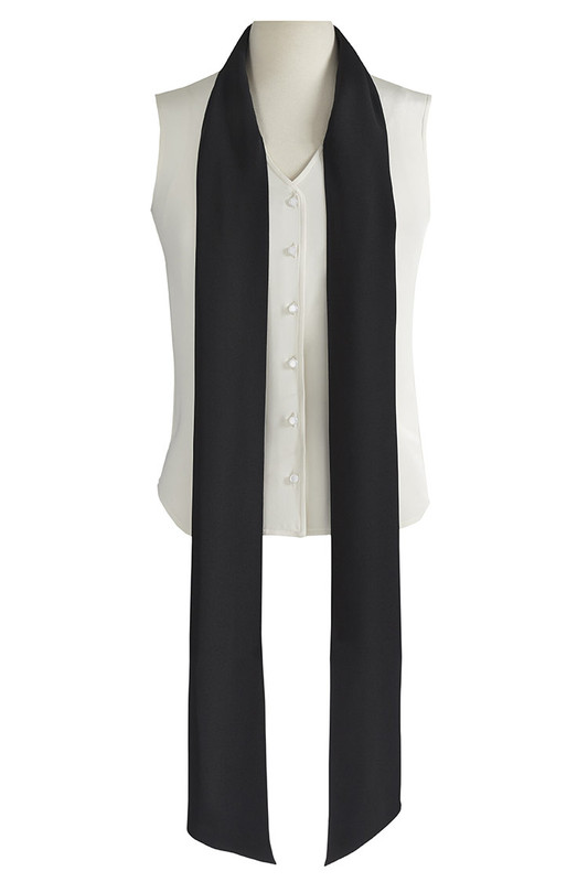 The Lauren Blouse Ivory/Black