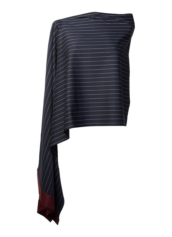 Lo Strato No. 01 Superfine 130s Navy Pinstripe/Wine Italian Wool Crepe