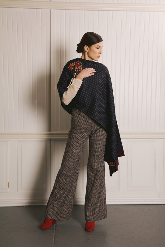 Lo Strato No. 01 Superfine 130s Navy Pinstripe/Wine Italian Wool Crepe feat. Roses by SOUNDOFF
