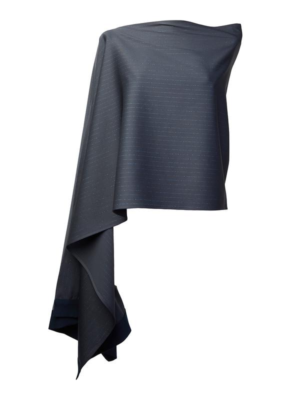 Lo Strato No. 01 Charcoal Black Metallic Blue Pinstripe Wool/Navy Italian Wool Crepe