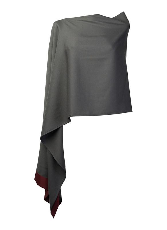 Lo Strato No. 01 Charcoal Gray/Wine Italian Wool Crepe
