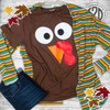 Turkey Face Thanksgiving T-Shirt Flat