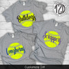 Distress Softball with Personalization Product Image flat