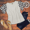 Short Sleeve Waffle Top Black and White Leopard Flat Image