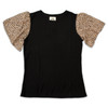 Short Sleeve Waffle Top Leopard Product Image
