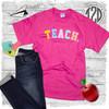 Teach Color Block Letter T-Shirt Flat