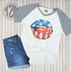 Stars and Stripes Lips V-Neck Flat