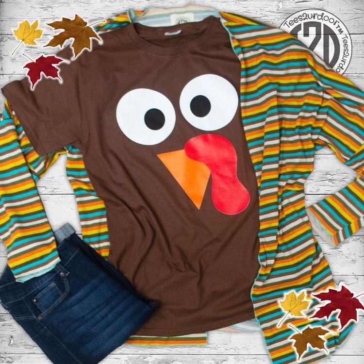 Turkey Face Thanksgiving T-Shirt Flat