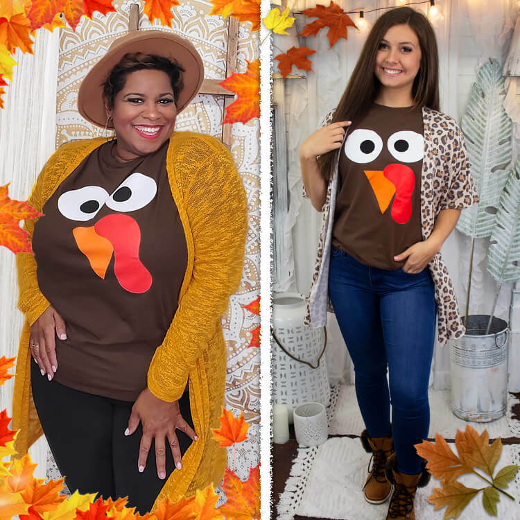 Turkey Face Thanksgiving T-Shirt
