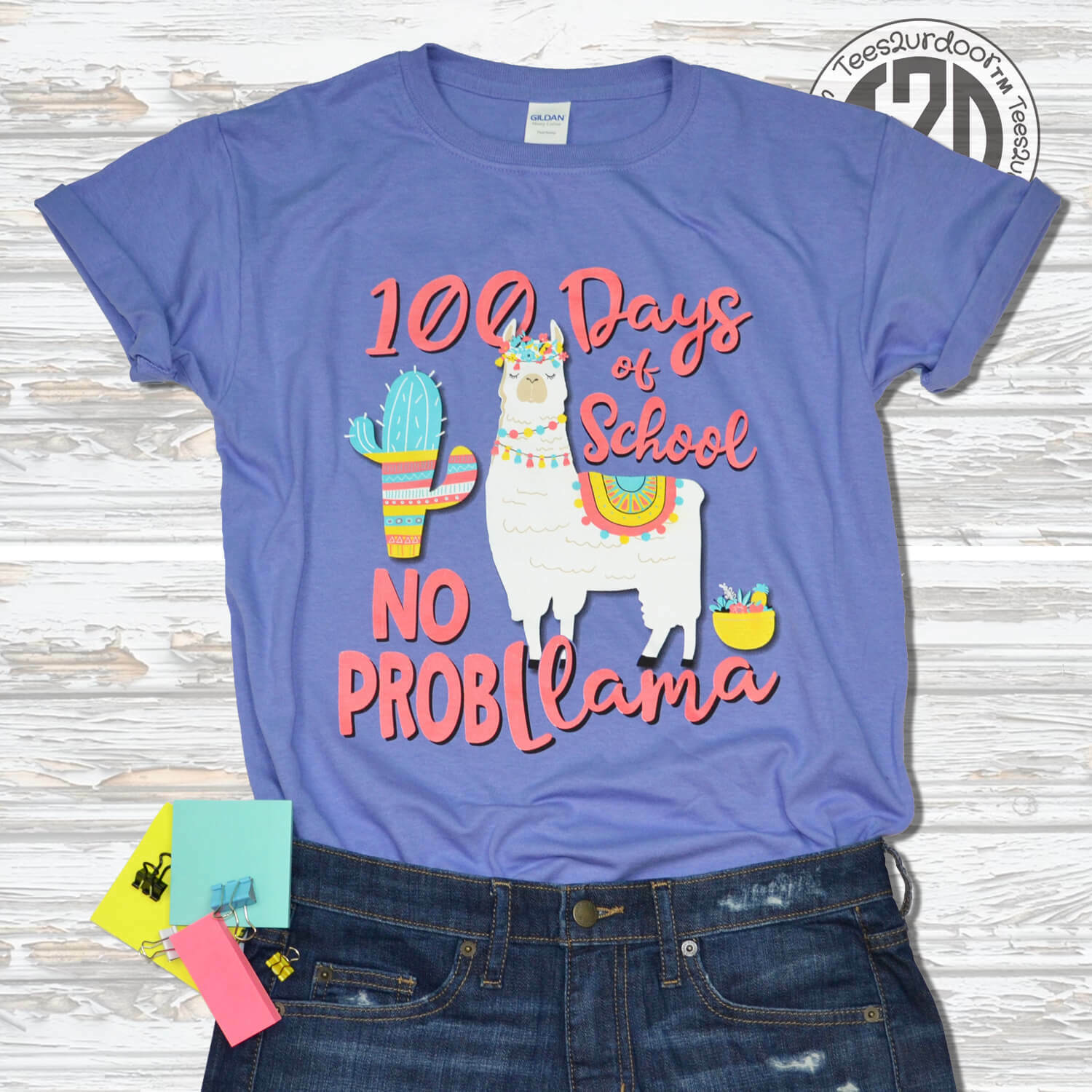 100 Days of School No Probllama T-Shirt
