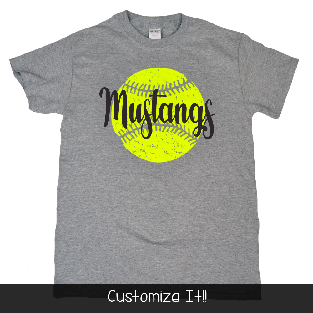 Distress Softball with Personalization Product Image
