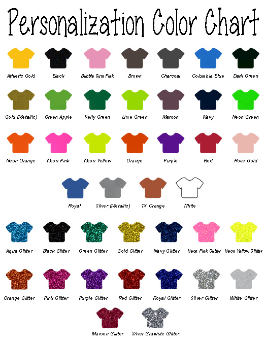 Personalization Color Chart