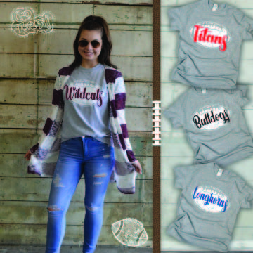 Distressed Football with Personalization T-Shirt Cardigan