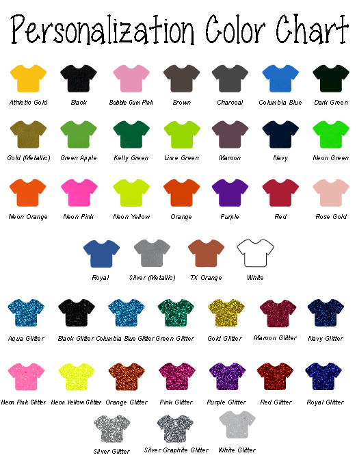 Distressed Soccer with Personalization T-Shirt Color Chart