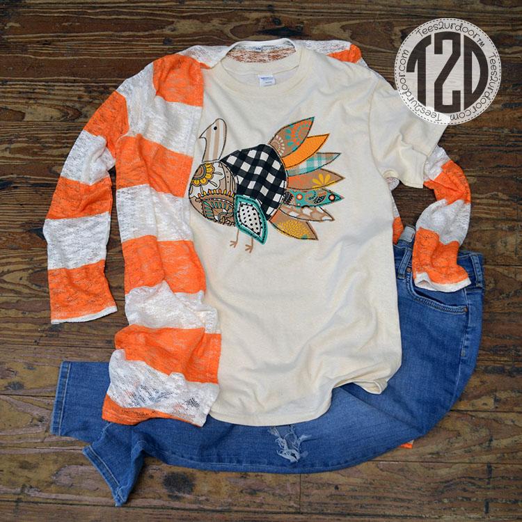 Patchwork Turkey T-Shirt Product Image Orange