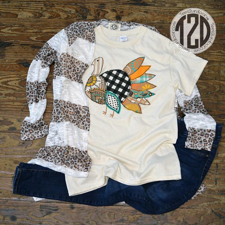 Patchwork Turkey T-Shirt Product Image Leopard stripe