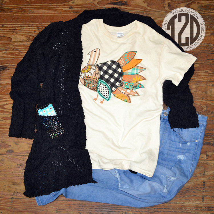 Patchwork Turkey T-Shirt Product Image Popcorn cardigan