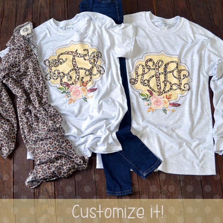 Leopard Vines Monogram T-shirt Flat Image