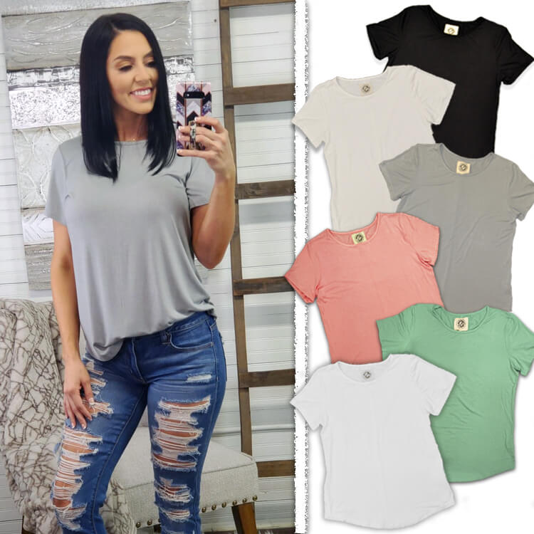 Relaxed Basic Scoop Neck Top Lifestyle