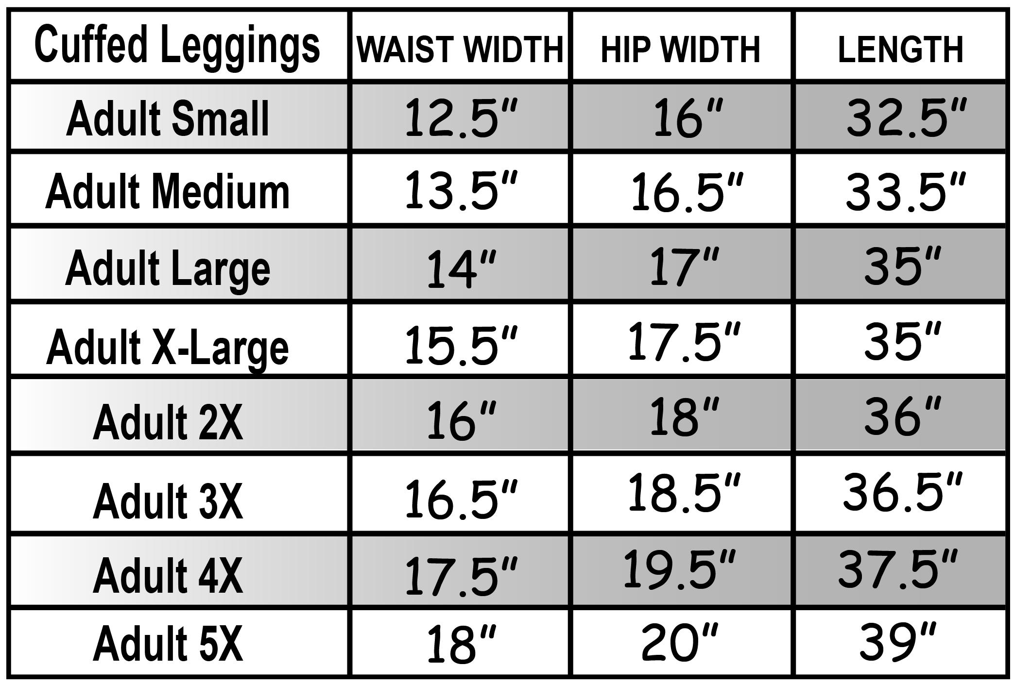 Cuffed Leggings Size Chart