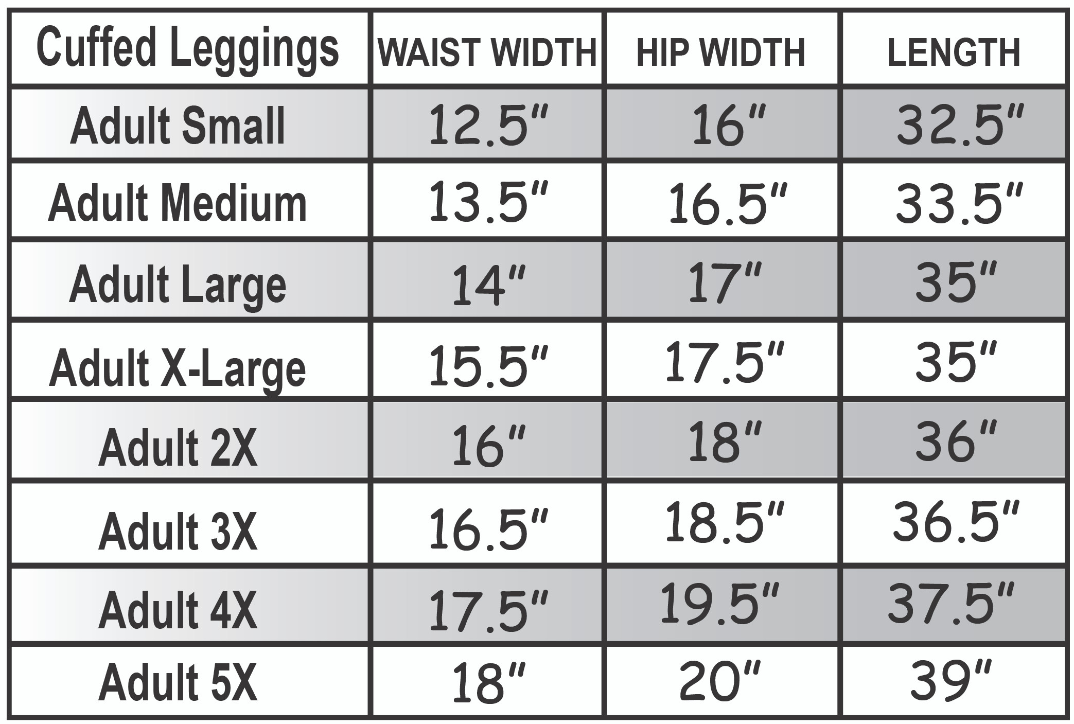 Cuffed Leggings Size Chart