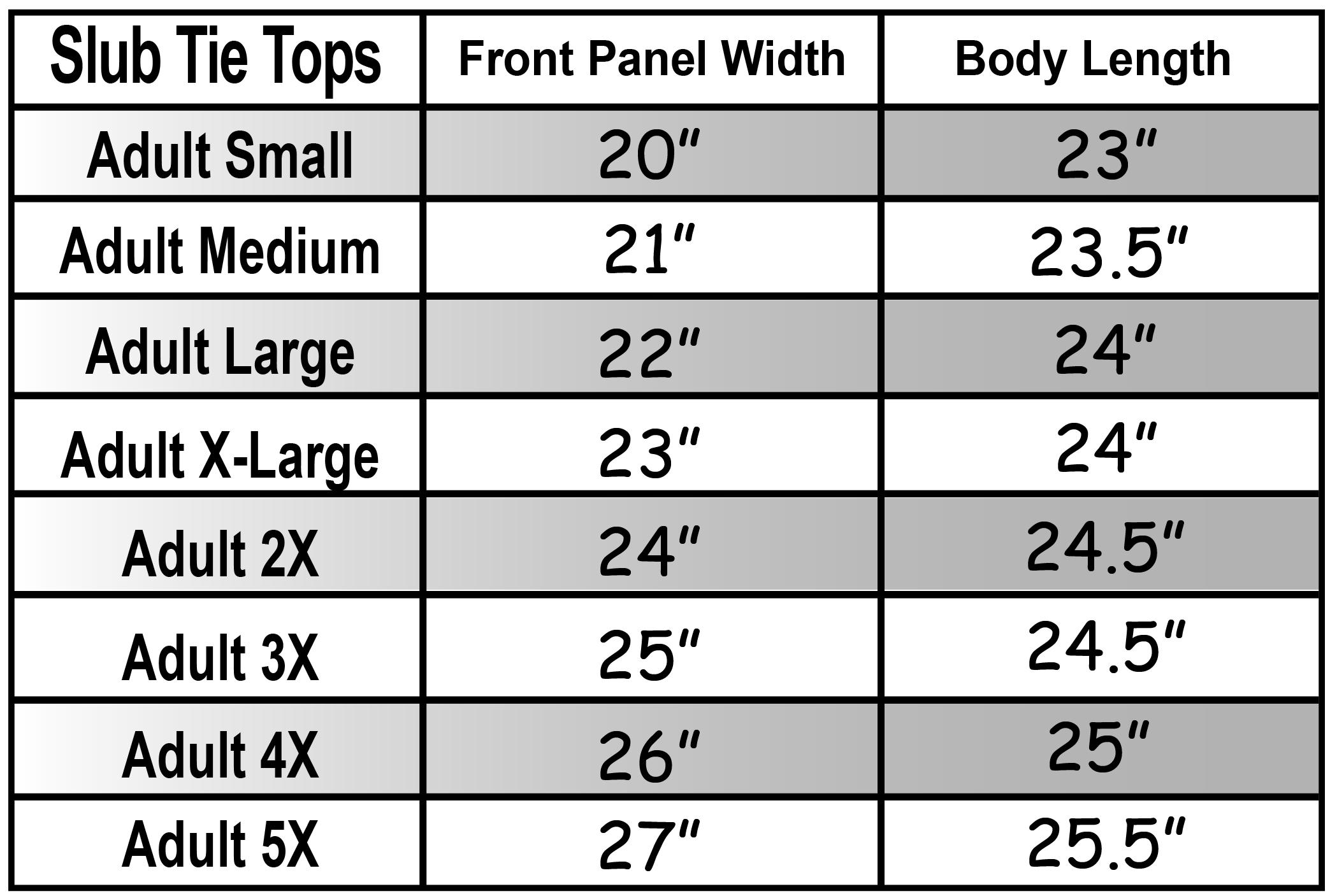 Lightweight Slub Tie Top Size Chart