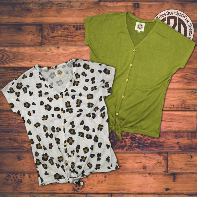 Lightweight Slub Tie Top Leopard and Guacamole Product Image 2