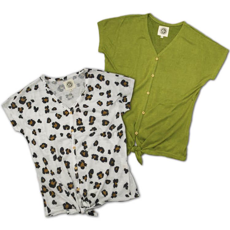 Lightweight Slub Tie Top Leopard and Guacamole Product Image