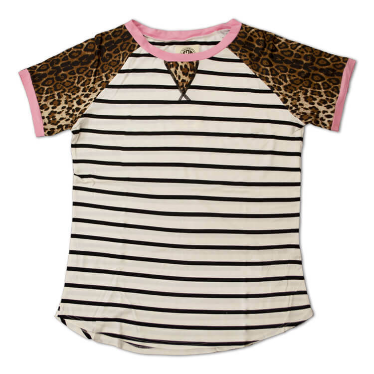 Relaxed Stripe Basic Tee Leopard Product Image