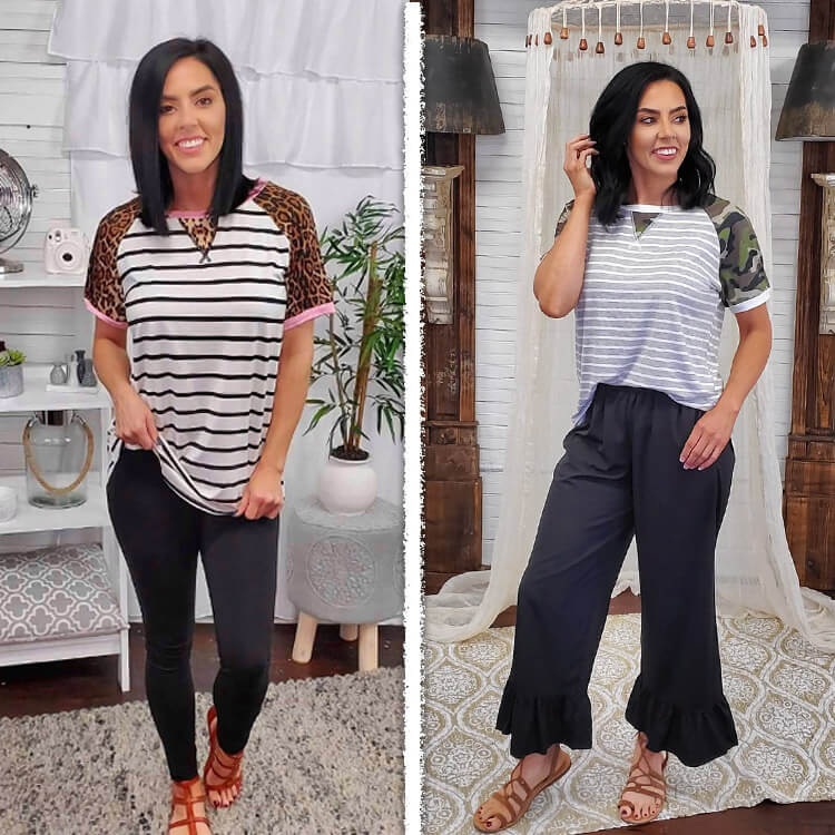 Relaxed Stripe Basic Tee Leopard and Camo Product Image