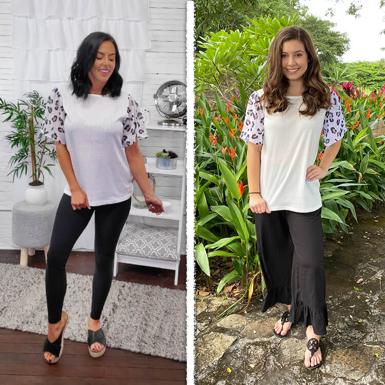Short Sleeve Waffle Top Black and White Leopard Lifestyle