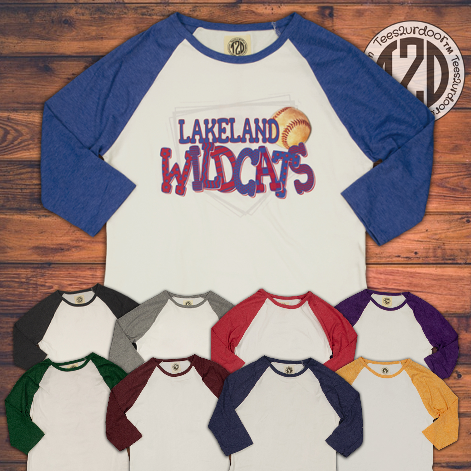Patterned Home Plate Baseball Raglan