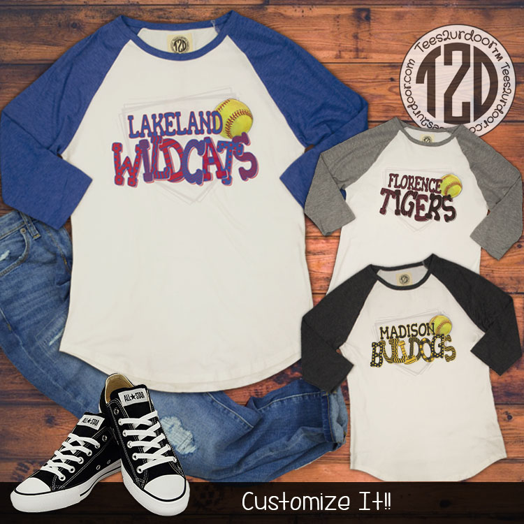 Patterned Home Plate Softball Raglan