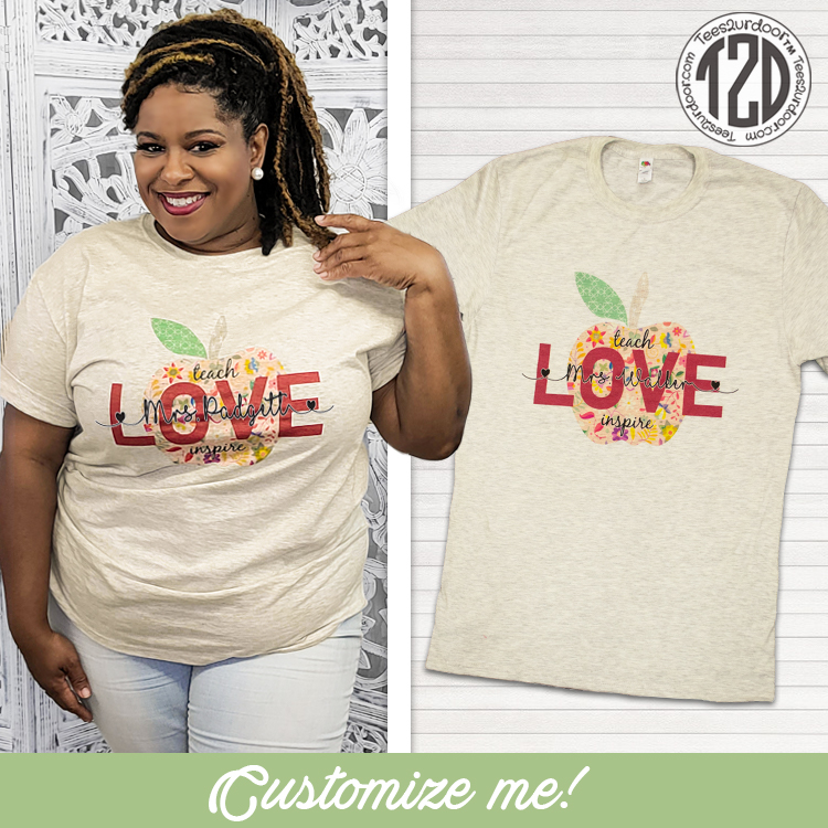 Vintage Teach, Love, Inspire Personalized T-Shirt Product Image