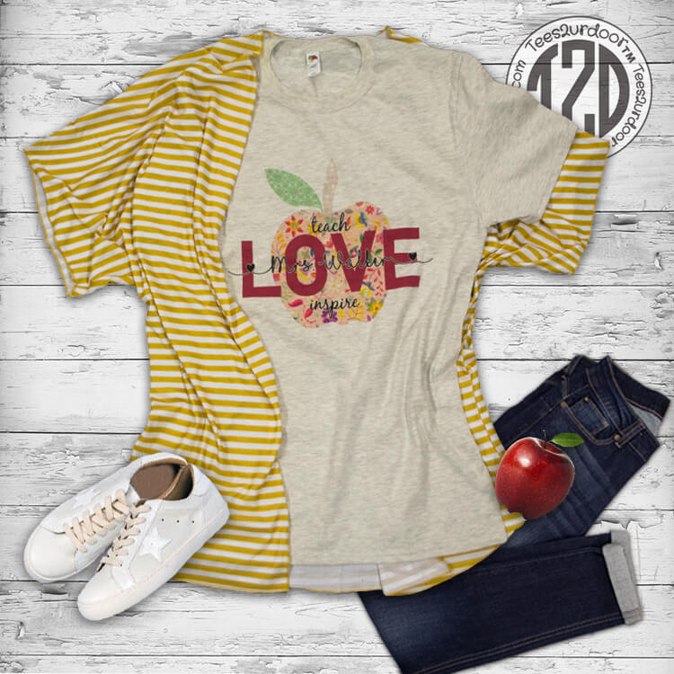 Vintage Teach, Love, Inspire Personalized T-Shirt